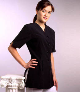 Short Sleeve Slim Fit Spa Uniform-black